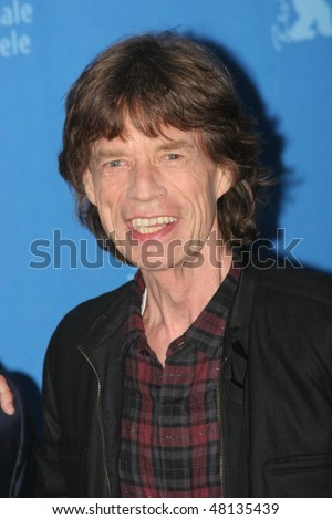 BERLIN - FEBRUARY 7: Rolling Stones singer Mick Jagger  attends the 'Shine A Light' Photocall as part of the 58 Berlinale Film Festival at the Grand Hyatt Hotel on February 7, 2008 in Berlin, German - stock photo