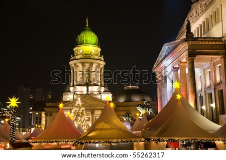 berlin gendarmenmarkt christmas market at night - stock photo