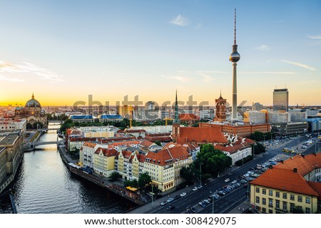 Berlin, Germany. Aerial view of Berlin during beautiful sunset - stock photo