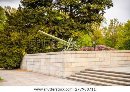 BERLIN, GERMANY - APR 30, 2015: Soviet War Memorial (Tiergarten) in Berlin, Germany. 2015 is the 70th anniversary of the end of the World War II