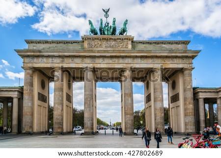 BERLIN, GERMANY - APRIL 20, 2016: Brandenburg Gate (Brandenburger Tor, 1788 â?? 1791, architect Carl Gotthard Langhans) - famous landmark in Berlin, Germany.  - stock photo
