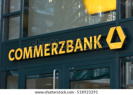 Berlin, Germany - April 26, 2016: Commerzbank branch. Commerzbank AG is one of the largest banks in Germany, it is active in commercial banking, retail banking and mortgaging