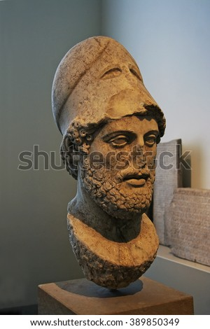BERLIN, GERMANY - APRIL 2, 2010: Exhibition Old Museum (Altes Museum) Portrait of Pericles Roman copy of a statue of Kresilas on the Athenian Acropolis.  From the island of Lesbos, to 429th BC - stock photo