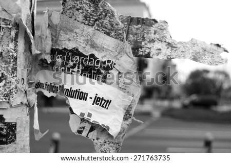 BERLIN, GERMANY - 22 April 2015: Impression at a street corner in the district of Friedichshain, Berlin on April 22, 2015. Berlin, Germany - stock photo
