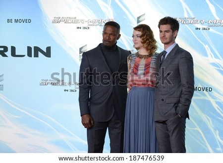"BERLIN - GERMANY - APRIL 15: Jamie Foxx, Emma Stone and Andrew Garfield at ""The Amazing Spider-Man 2"" premiere at CineStar, Sony Center, Potsdamer Platz on April 15, 2014 in Berlin, Germany. - stock photo"