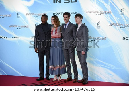 "BERLIN - GERMANY - APRIL 15: Jamie Foxx, Emma Stone, Andrew Garfield and Dane DeHaan at ""The Amazing Spider-Man 2"" premiere at Sony Center, Potsdamer Platz on April 15, 2014 in Berlin, Germany. - stock photo"
