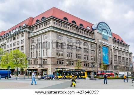 BERLIN, GERMANY - APRIL 20, 2016: Main entrance of Kaufhaus des Westens or KaDeWe department store along Tauentzien street. KaDeWe is largest most famous department store in Germany. - stock photo