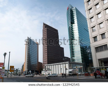 BERLIN, GERMANY - APRIL 15: Potsdamer Platz and railway station in Berlin, Germany on April 15, 2012. It's a one of the main public square and traffic intersection in the centre of Berlin