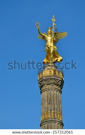 BERLIN, GERMANY - APRIL 30, 2014: Statue Of Victory in Berlin. The Siegessaule is the Victory Column located on the Tiergarten at Berlin, Germany.