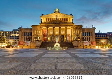 BERLIN, GERMANY - APRIL 17, 2016 - The Konzerthaus at the Gendarmenmarkt at dawn