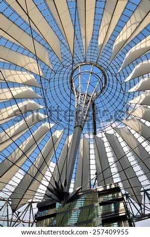 BERLIN, GERMANY - APRIL 30, 2014: The Sony Center on Potsdamer Platz. Sony Center located at the Potsdamer Platz is a Sony sponsored building complex, opened in 2000 year.