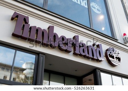 Berlin, Germany - April 26, 2016: Timberland store. The company founded in 1952 currently has 1.43bn USD yearly revenue (2010) and is among largest footwear and outdoor fashion retailers worldwide