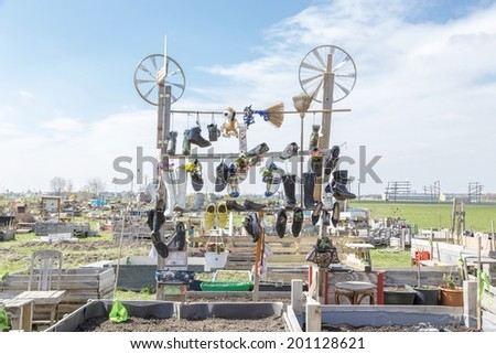 """BERLIN, GERMANY- APRIL 23,  2013: Urban gardening construction in the shut down and for public opened airport """" Tempelhof """" in Berlin - stock photo"""