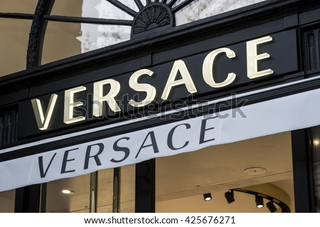 Berlin, Germany - April 26, 2016: Versace sign displayed at the facade of a store. Gianni Versace SpA is a world famous Italian luxury fashion company and trade name founded by Gianni Versace in 1978