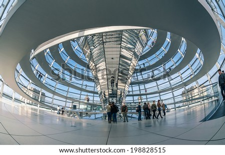 BERLIN, GERMANY - April 17 : View of Reichstag dome on April 17, 2013 in Berlin, Germany. The Reichstag dome is a glass dome constructed on top of the rebuilt Reichstag building.  - stock photo