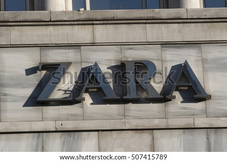 Berlin, Germany - April 26, 2016: Zara sign. This textile company, through its network of stores and online, sells worldwide low-priced clothing, accessories and footwear for men, women and children