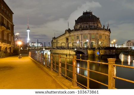 berlin, germany, at night - stock photo
