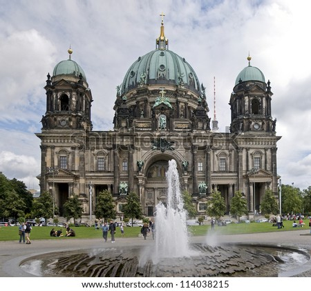 BERLIN, GERMANY - AUG 09: The Berlin Dom on August 9, 2012. This is the most important church in Berlin visited by many tourists coming from all over the world - stock photo