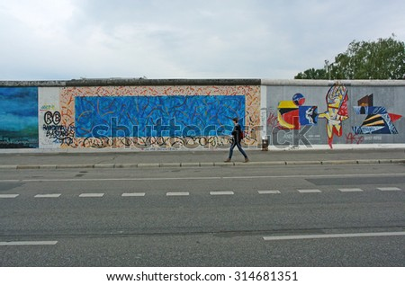 BERLIN, GERMANY - AUGUST 20, 2013: A photograph of remaining Berlin Wall taken on Aug.20, 2013 in Berlin, Germany. - stock photo