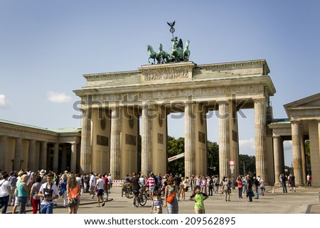 BERLIN, GERMANY - AUGUST 6: Brandenburg Gate August 6, 2014 in Berlin, Germany - stock photo