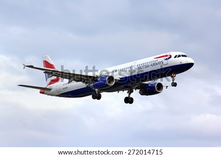 BERLIN, GERMANY - AUGUST 17, 2014: British Airways Airbus A321 arrives to the Tegel International Airport. - stock photo
