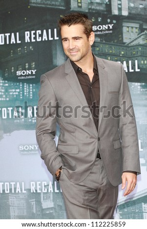 BERLIN, GERMANY - AUGUST 13: Colin Farrell attends the German premiere of 'Total Recall' at Sony Center on August 13, 2012 in Berlin, Germany - stock photo