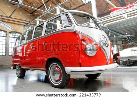 BERLIN, GERMANY - AUGUST 12, 2014: German classic van Volkswagen Transporter in the museum of vintage cars Classic Remise. - stock photo