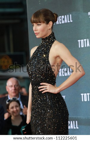 BERLIN, GERMANY - AUGUST 13: Jessica Biel attends the German premiere of 'Total Recall' at Sony Center on August 13, 2012 in Berlin, Germany - stock photo