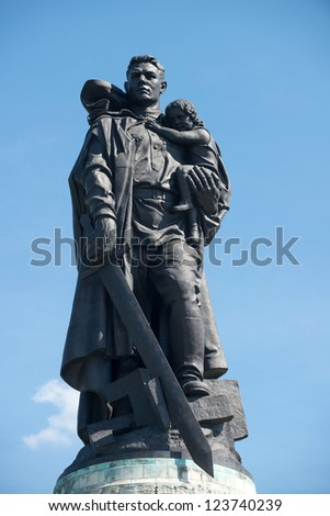 BERLIN, GERMANY - AUGUST, 02: Memorial of the second world war and Russian soldiers in Treptower park, Berlin on August 02, 2012. opened on May 8, 1949, as the central war memorial of East Europe. - stock photo