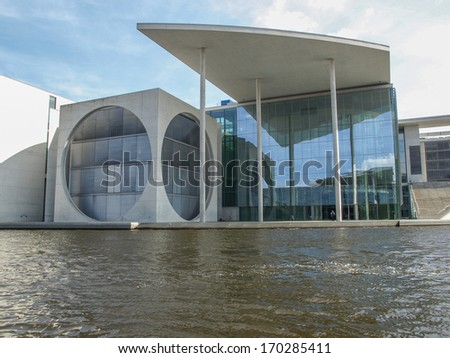 BERLIN, GERMANY - AUGUST 08, 2009: The Band des Bundes complex of government buildings was build in 1995 following the reunification of Germany