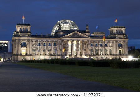 BERLIN, GERMANY - AUGUST 26: The Reichstag building on August 26, 2012 in Berlin, Germany.  The Reichstag building is the meeting place of the German parliament (Bundestag).