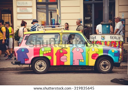 BERLIN, GERMANY - August 6, 2015: Trabant 601 in Berlin Iconic East German car at Trabi World - stock photo