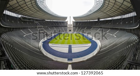BERLIN, GERMANY, AUGUST 11: View of an empty Berlin's Olympia Stadium, built for the 1936 Summer Olympics. August 11, 2012, in Berlin, Germany - stock photo