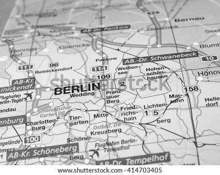BERLIN, GERMANY - CIRCA APRIL 2016: Detail of a map of the city with selective focus on town name in black and white