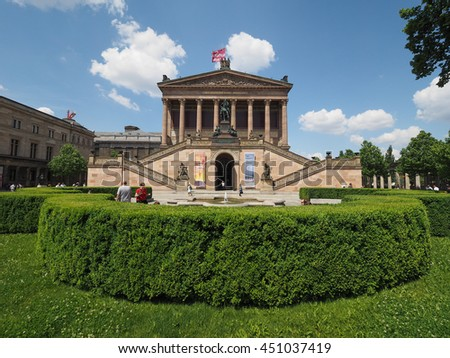 BERLIN, GERMANY - CIRCA JUNE 2016: The Alte Nationalgalerie (meaning Old National Gallery) in the Museumsinsel (meaning Museums Island)