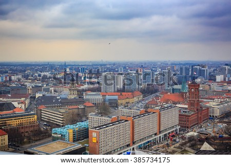 BERLIN, GERMANY - CIRCA MARCH, 2015: View over the city of Berlin