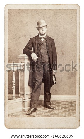 BERLIN, GERMANY - CIRCA 1890: vintage studio photo from young fashion man ca. 1880. nostalgic picture from circa 1890 in Berlin, Germany