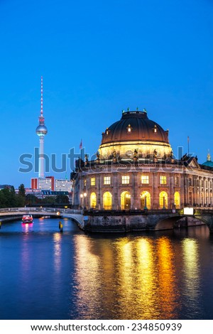 Berlin, Germany cityscape early in the evening - stock photo