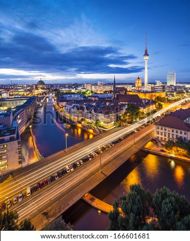 Berlin, Germany cityscape over the Spree. - stock photo