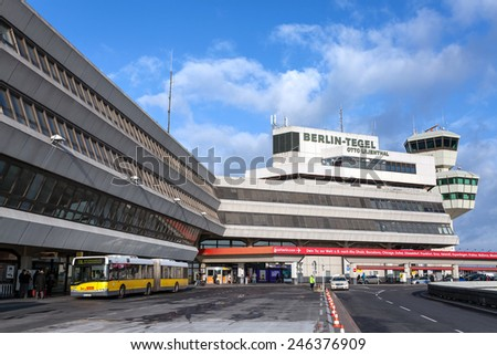 BERLIN, GERMANY - DECEMBER 25, 2014: A view of the Tegel airport. Almost 28 million passengers took off and landed last year at Berlin's airports. - stock photo