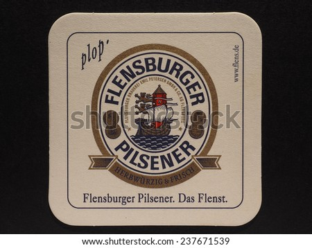 BERLIN, GERMANY - DECEMBER 11, 2014: Beermat of German beer Berliner Kindl - stock photo