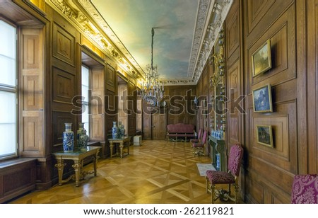 BERLIN, GERMANY - DECEMBER 25, 2014: Interior of the Charlottenburg Palace, he only surviving royal residence in the city dating back to the time of the Hohenzollern family.