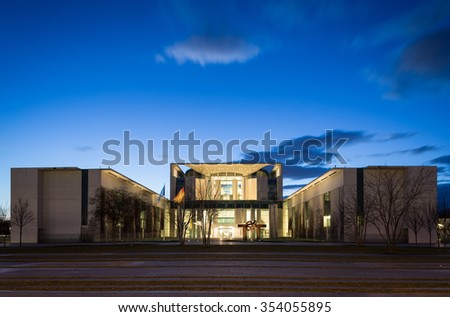 Berlin, Germany - Feb. 16, 2014: Bundeskanzleramt (federal german chancellery). The residence of the Chancellor of Germany.