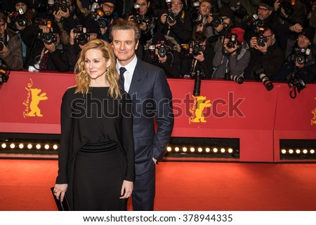 Berlin, Germany - February 16, 2016  - Actor Colin Firth and actress Laura Linney attend the 'Genius' premiere during the 66th Berlinale International Film Festival - stock photo