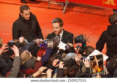 BERLIN, GERMANY - FEBRUARY 06, 2015 : Actor Damian Lewis and his wife Helen McCrory attend the 'Queen of the Desert' premiere at the 65th Berlinale International Film Festival at Berlinale Palace - stock photo