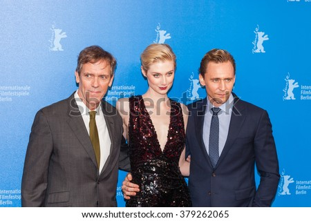 Berlin, Germany - February 18, 2016  - Actors Hugh Laurie, Elizabeth Debicki and Tom Hiddleston attend the 'The Night Manager' premiere during the 66th Berlinale International Film Festival - stock photo
