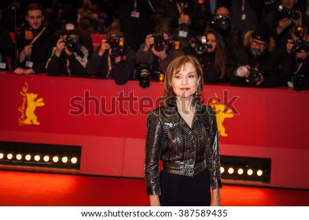Berlin, Germany - February 13, 2016 - Actress Isabelle Huppert attends the 'Things to Come' (L'avenir) premiere during the 66th Berlinale International Film Festival - stock photo