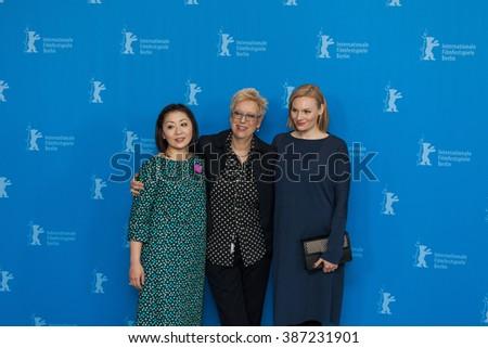 "Berlin, Germany - February 13, 2016 - actress Kaori Momoi, director Doris Dorrie and actress Rosalie Thomass attend the photocall ""Grusse aus Fukushima"" (Fukushima, mon amour) premiere on 66 Berlinale - stock photo"