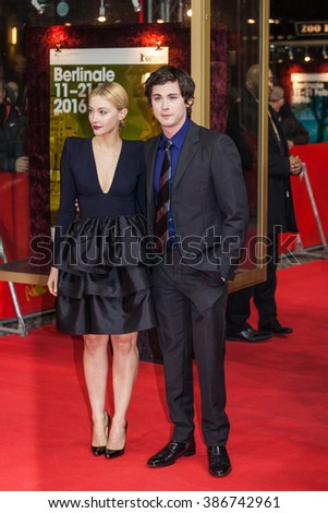 Berlin, Germany - February 14, 2016  - actress Sarah Gadon and actor Logan Lerman attend the 'Indignation' premiere during the 66th Berlinale International Film Festival - stock photo