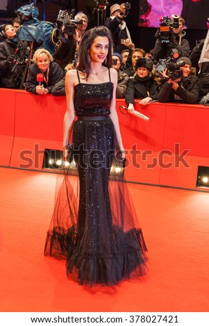 Berlin, Germany - February 11, 2016 -Amal Clooney attends  the 'Hail, Caesar!' premiere during the 66th Berlinale International Film Festival - stock photo